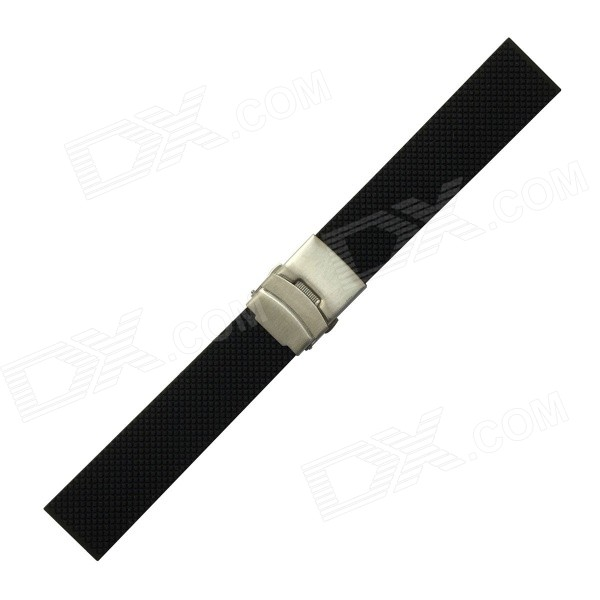 Rubber Watchband for LG Watch R / Zenwatch - Black