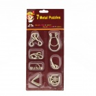 7-en-1 acero inoxidable educativo Puzzle hebillas Set - plata