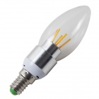 Dimmable E14 4W LED Filament Candle Lamp Warm White Light 320lm 6-COB - Silver + White (AC 220V)