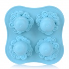 Octopus Style Silicone 4-Grid Ice Making Mold - Blue