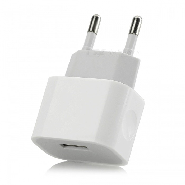 Universal EU Plug Power Charger w/ USB Port - White (100~240V)