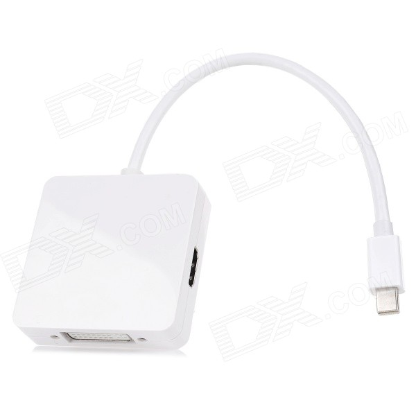 Mini Display Port para HDMI + VGA + DVI cabo - branco