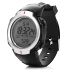 Men's Water Resistant Digital Sports Watch w/ LED Light - Black + Silver
