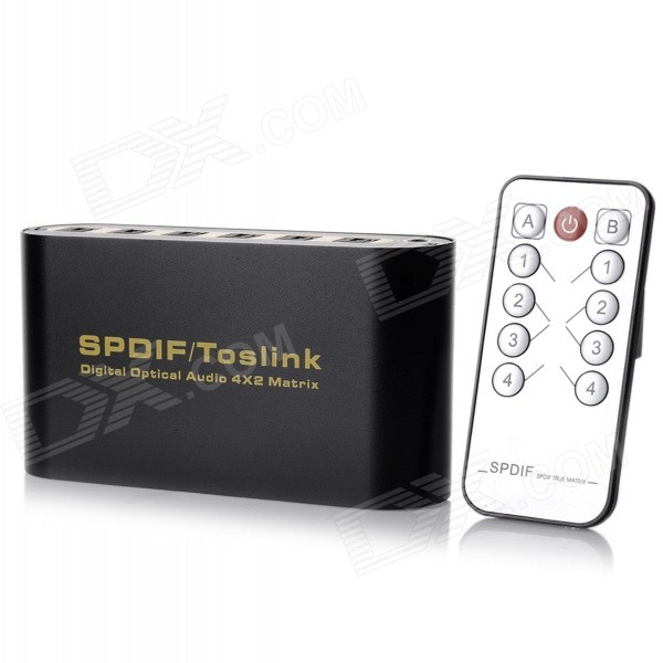 NK-T42 SPDIF / TosLink Digital Optical Audio 4 x 2 Matrix Converter
