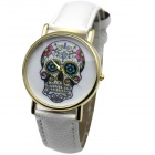 B0111 Women's Stylish PU Band Skull Dial Quartz Analog Wrist Watch - White + Golden (1 x LR626)