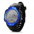 Men's Water-resistant Digital Sports Watch w/ LED Light - Black + Blue (1 x CR2025)