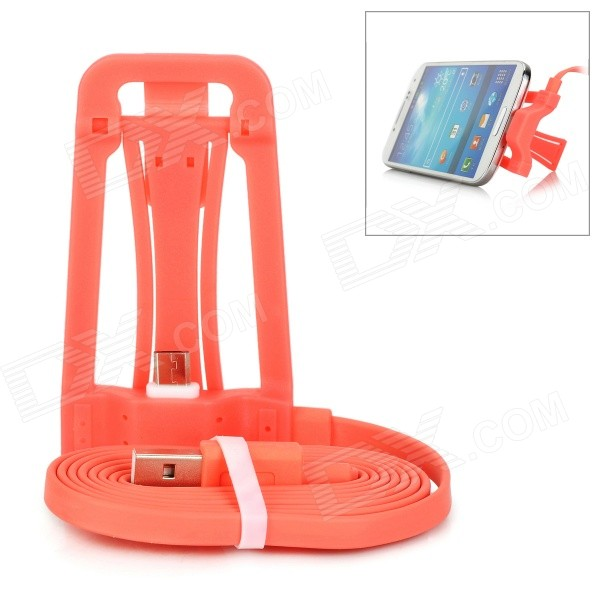 Desktop Mount Holder w/ Charging Cable for Android Phones - Red Orange