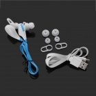 QX-01 Bluetooth V4.1 In-Ear Earphones w/ Mic - White + Blue (62cm)