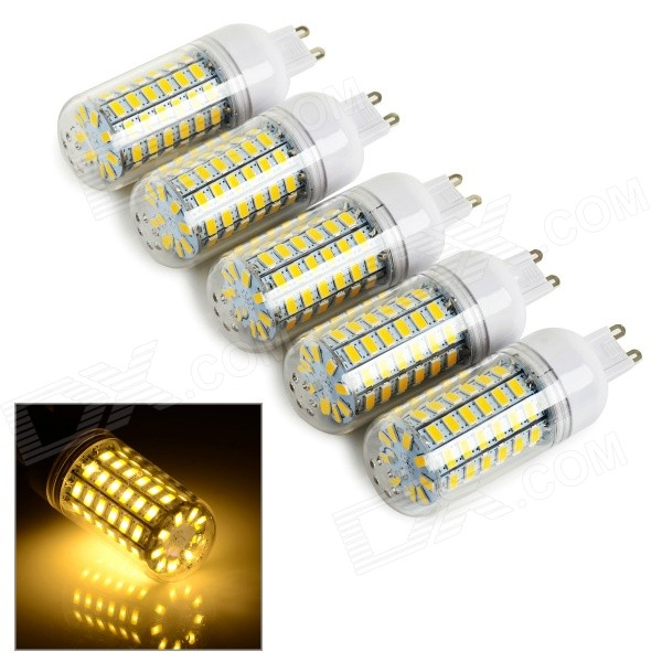 JRLED G9 11W 900lm 3300K 69-SMD 5730 Warm White Bulb (220~240V)G9<br>Form  ColorWhite + Yellow + Multi-ColoredColor BINWarm WhiteModelJRLED-G9-5730-69DMaterialIron feet + inflaming retarding PC plasticQuantity5 DX.PCM.Model.AttributeModel.UnitPower11WRated VoltageAC 220-240 DX.PCM.Model.AttributeModel.UnitConnector TypeG9Chip BrandHugaChip Type5730Emitter TypeOthers,5730 SMDTotal Emitters69Theoretical Lumens900 DX.PCM.Model.AttributeModel.UnitActual Lumens500~900 DX.PCM.Model.AttributeModel.UnitColor Temperature12000K,Others,3000~3300KDimmableNoBeam Angle360 DX.PCM.Model.AttributeModel.UnitOther Features360 degree lightingPacking List5 x G9 lamps<br>