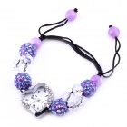 Women's Beads Strap Heart-shaped Rhinestone-studded Dial Analog Quartz Watch - Purple (1 x 377)