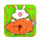 DIY Assembly Rabbit & Carrot Pattern Wood Wall Clock - Wood Color + Black (1 x AA)