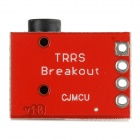 3.5mm Audio Socket Stereo Sound Module w/ Mic for MP3 Player - Red