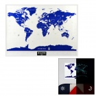 Glow-in-the-Dark Paper World Map w/ Flashlight - White + Blue + Multicolor (3 x AAA)