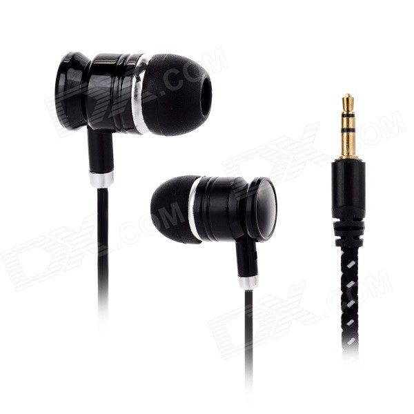 Universal 3.5mm Jack Wired In-ear Headphone - Black + Light Brown