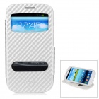 Protective Flip-Open PU + TPU Case w/ View Windows for Samsung i9300 / i9308 / i939D - Silver