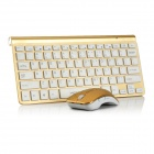 Motospeed G9800 78-Key ultradünne drahtlose Tastatur 2.4G + Wireless Optical Mouse Set - Golden