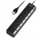 7-Port USB 2.0 HUB w/ Individual Switch + EU AC Power Adapter - Black