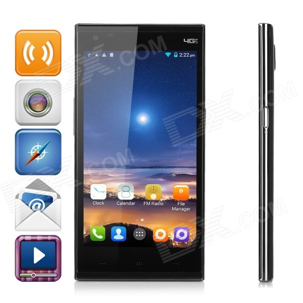Kingzone N3 MT6582+6290 Android 4.4 Quad-core 4G Phone w/ 5.0″, 8GB, 13.0MP, NFC, Touch ID – Black