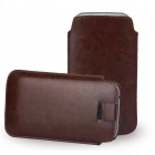 Protective PU Leather Pouch Case w/ Pull Strap for Samsung Galaxy S6 G9200 - Brown