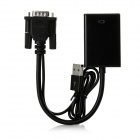 VGA to HDMI Adapter Cable w/ USB Power Supply / Audio - Black