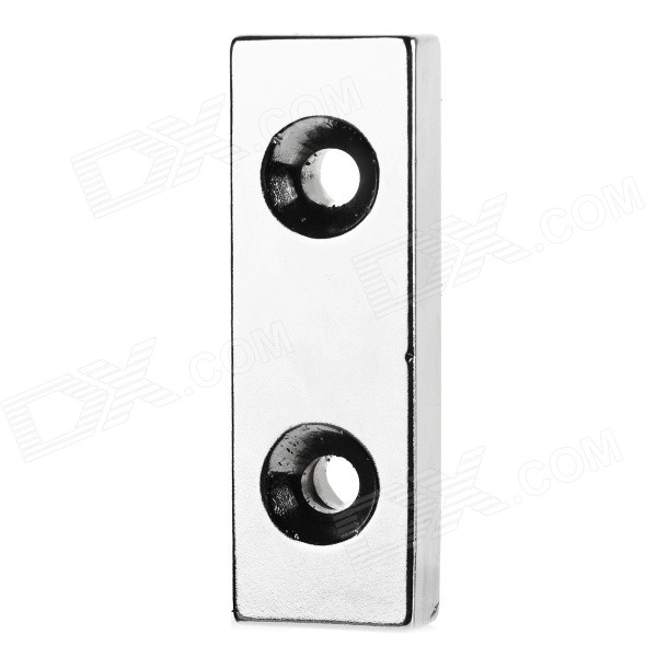 Strong Magnetic Rectangle NdFeB Dual Holes Maget - Silver (60*20*10mm)