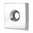 40 x 40 x 10mm Praça Shaped Magnet Single Hole NdFeB - Silver