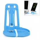 Multi-Function Desktop Mount Holder Stand w/ Charging Data Cable for Android Phones - Blue