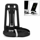 Multi-Function Desktop Mount Holder Stand w/ Charging Data Cable for Android Phones - Black