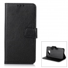 Lychee Pattern Protective PU + PC Case w/ Stand / Card Slots for Samsung Galaxy S6 - Black