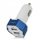 5V 1.0 / 2.1A Dual-Port USB 2.0 Car Cigarette Lighter Power Adapter Charger - White + Blue