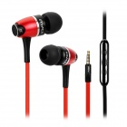 AWEI S80vi Stylish In-Ear Flat Earphones w/ Volume Control / Microphone for IPHONE - Red + Black