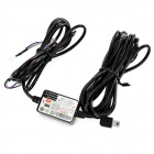 Mini USB 12/24V to DC 5V Voltage Step Down Power Converter Cable for Car DVR Camcorder / GPS - Black