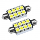JIAWEN Festoon 42mm 1.5W coche LED lectura luz blanca 6500 K 170lm 8-SMD CANBUS (12V / 2pcs)
