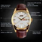 SKMEI 9073 Waterproof Quartz Leather Strap Watches - Gold + White