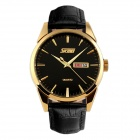 SKMEI 9073 30m Waterproof Men's Leather Band Quartz Watch w/ Calendar - Golden + Black (1 x SW626)