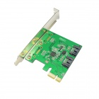 IOCREST PCI-Express to 2 x SATA III RAID 6Gb/s Controller Card - Green