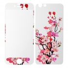 Flowers Pattern Tempered Glass Matte Front Screen Guard + Back Protector for IPHONE 6 - Purple