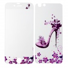 Flowers Pattern Tempered Glass Front Screen Guard + Back Protector for IPHONE 6 - Purplish Pink