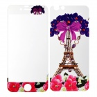 Flowers Pattern Tempered Glass Clear Front Screen Guard + Back Protector for IPHONE 6 - Fuchsia
