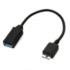 USB 3.0 Female to Micro USB 3.0 9-Pin Male OTG Cable for Samsung S5 / i9600 / Note 3 / N9000 - Black