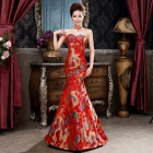 Women's Fashionable Wedding Party Ball Strapless Long Evening Dress - Red + Blue + Multicolored (L)
