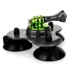 Low 3-Suction Cup Car Mount w/ Screw for GoPro Hero Series - Light Grey + Black + Green