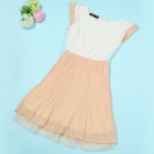 XLG567-B 7010 Women's Chiffon & Lace Dress - Khaki + White (L)