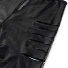 Women's Sexy Hollow-out Backless Halterneck Patent Leather One-Piece Lingerie Underwear - Black