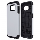 PC + Silicone Hybrid Slim Armor Case w/ Anti-shock Grid Design for Samsung Galaxy S6 - White