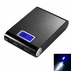 """12000mA"" Mobile Power Bank w/ LED Flashlight / LCD Capacity Display - Black"