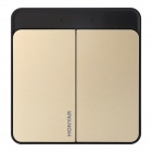 HONYAR 86 Type 2-CH Smart Wall Switch w/ Real-time Feedback, Timing, Cellphone R/C APP, WiFi - Gold