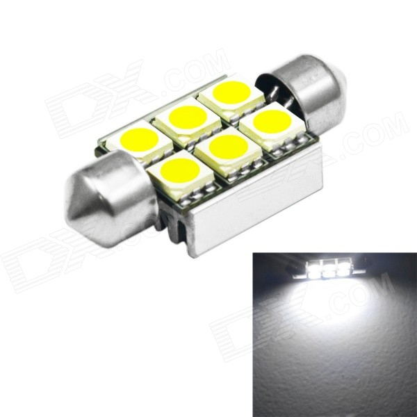 JIAWEN Festoon 36mm 1.5W 150lm 6500K 6x5050 SMD White Bulb (DC 12V)Decorative Lights / Strip<br>Color BINWhiteModel1.5W-6LED-001-CWQuantity1 DX.PCM.Model.AttributeModel.UnitMaterialAluminumForm ColorSilverEmitter TypeOthers,SMD LEDChip BrandOthers,N/ATotal Emitters6Color Temperature6000-6500 DX.PCM.Model.AttributeModel.UnitRate VoltageDC 12VPowerOthers,1.5WTheoretical Lumens100-150 DX.PCM.Model.AttributeModel.UnitActual Lumens100-150 DX.PCM.Model.AttributeModel.UnitWater-proofNoApplicationDecoration light,Reading lampPacking List1 x LED Light Bulb<br>