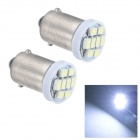 Merdia BA9S 0.5W 20lm 8x1210 SMD LED White Light Reading Light/License Plate Lamp/Side Light (2 PCS)