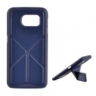 Non-Slip Rubber Paint Protective PC Back Case Cover w/ Stand for Samsung Galaxy S6 - Dark Blue